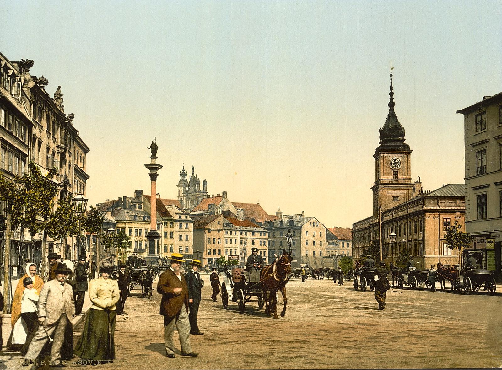 1895-1900 год. Варшава. Старый город. Замковая площадь.