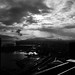 Eastward rooftop view in Vancouver, black and white