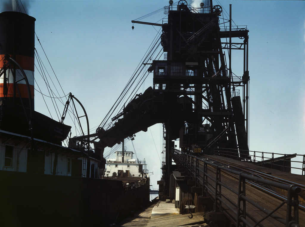 Loading a lake freighter with coal for shipment to other lake ports, Sandusky, Ohio. 1943 May