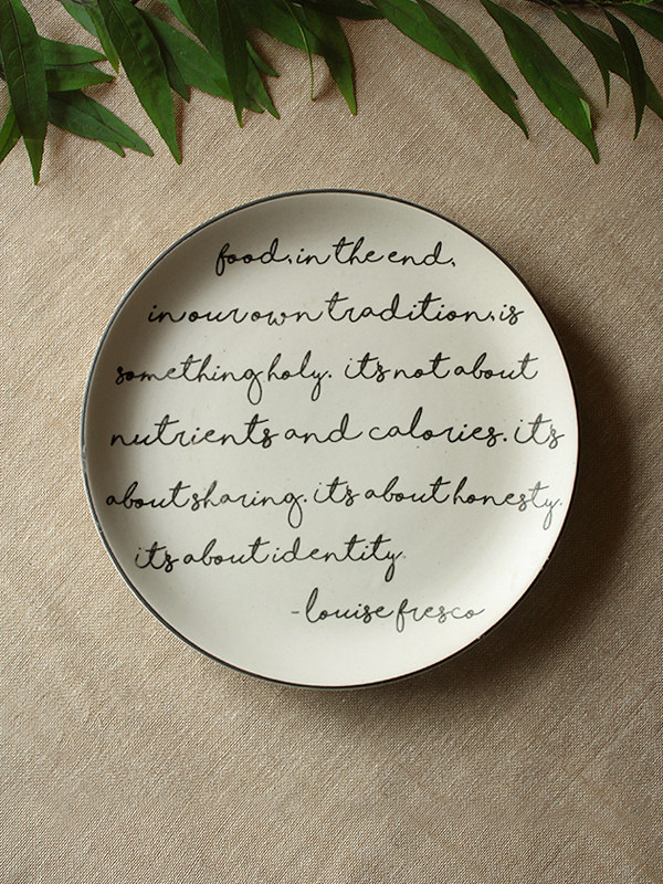 dinner plate with food script