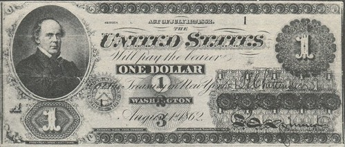First $1 1862 legal tender note, Series 1, serial 1