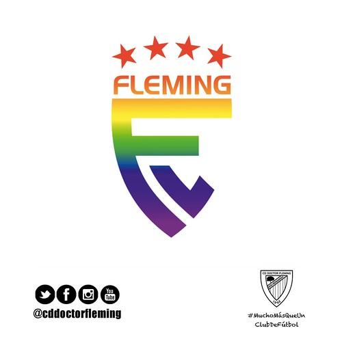 Nuevo logo del C.D. Dr. Fleming con loos colores del arcoiris