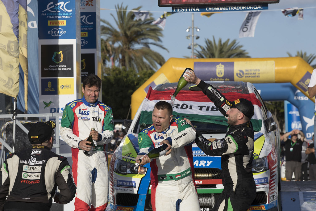 ERDI jr  TIBOR, PAPP Gyorgy, MITSUBISHI LANCER EVO X, portrait podium ambiance during the 2018 European Rally Championship ERC Rally Islas Canarias, El Corte Inglés,  from May 3 to 5, at Las Palmas, Spain - Photo Gregory Lenormand / DPPI