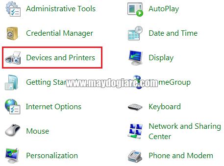 Vào mục Devices and Printer để thêm loa buetooth vào laptop