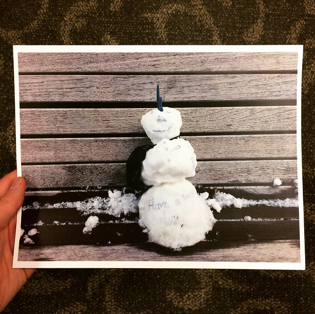 What am I going to do with this print of a tiny snowman?