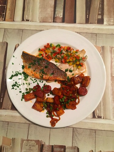 Sea bass with chorizo and vingreta