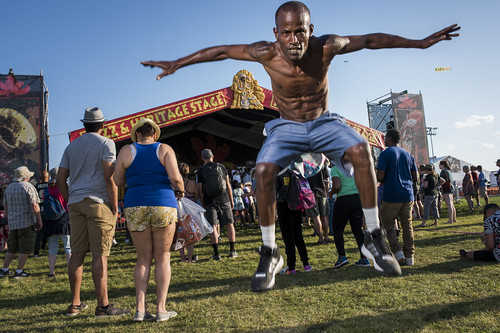 Dancing Man 504 during Jazz Fest day 1 on April 27, 2018. Photo by Ryan Hodgson-Rigsbee RHRphoto.com