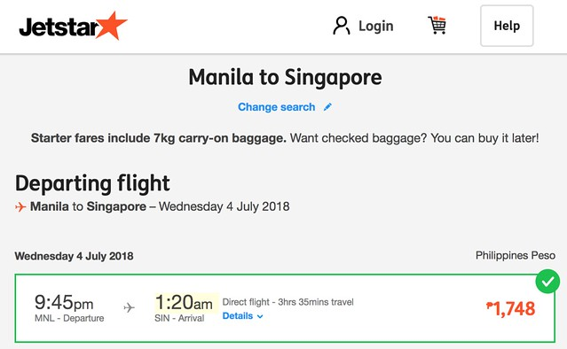 Manila to Singapore Jetstar July 4, 2018