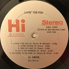 AL GREEN:LIVIN' FOR YOU(LABEL SIDE-A)