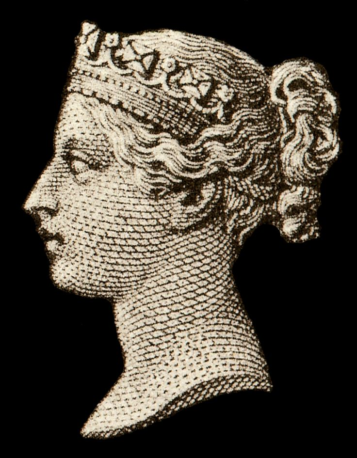Portrait of the young Queen Victoria as it appeared on the Penny Black, 1840.