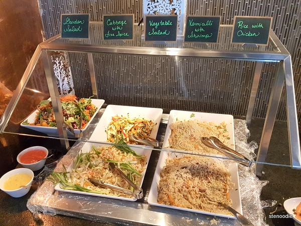 Salads, vermicelli, rice