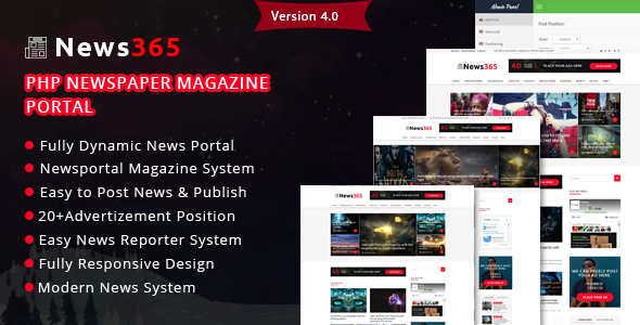 News365 v4 0 – PHP Newspaper Script Magazine Blog with Video