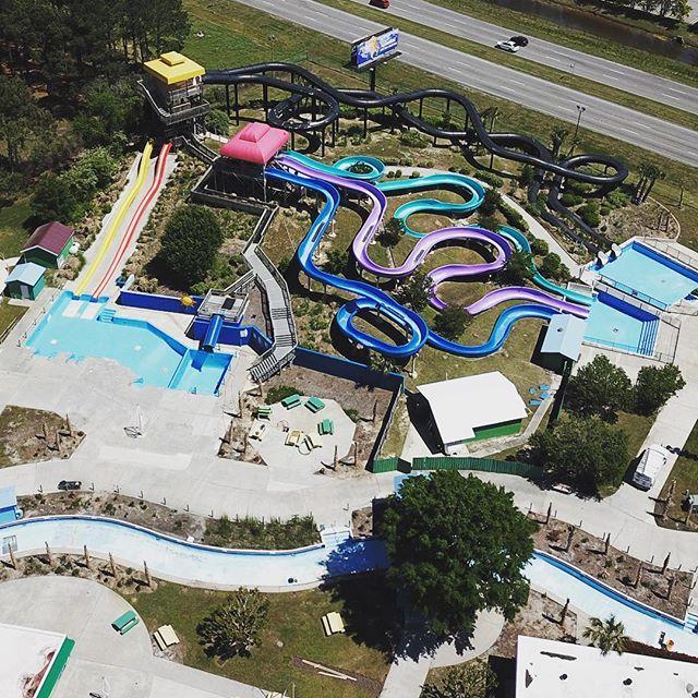 Slip and slide. #dji #drone #djimavic #djimavicpro #dronephotography #djiphotography #mavic #mavicpro #myrtlebeach #southcarolina #grandstrand #broadwayatthebeach #barefootlanding #atlanticocean #beach #waterpark