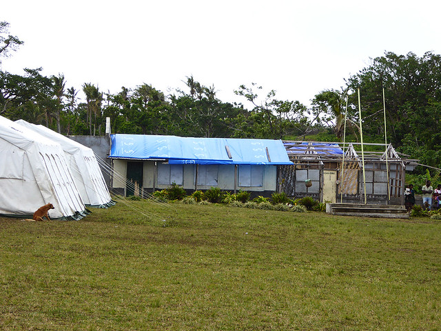 Alomost all school building on Tanna suffered extensive damage from cyclone Pam, and several years later only 40% of the allocated monies had been expended on their repair, with some school using UNICEF tents as classrooms