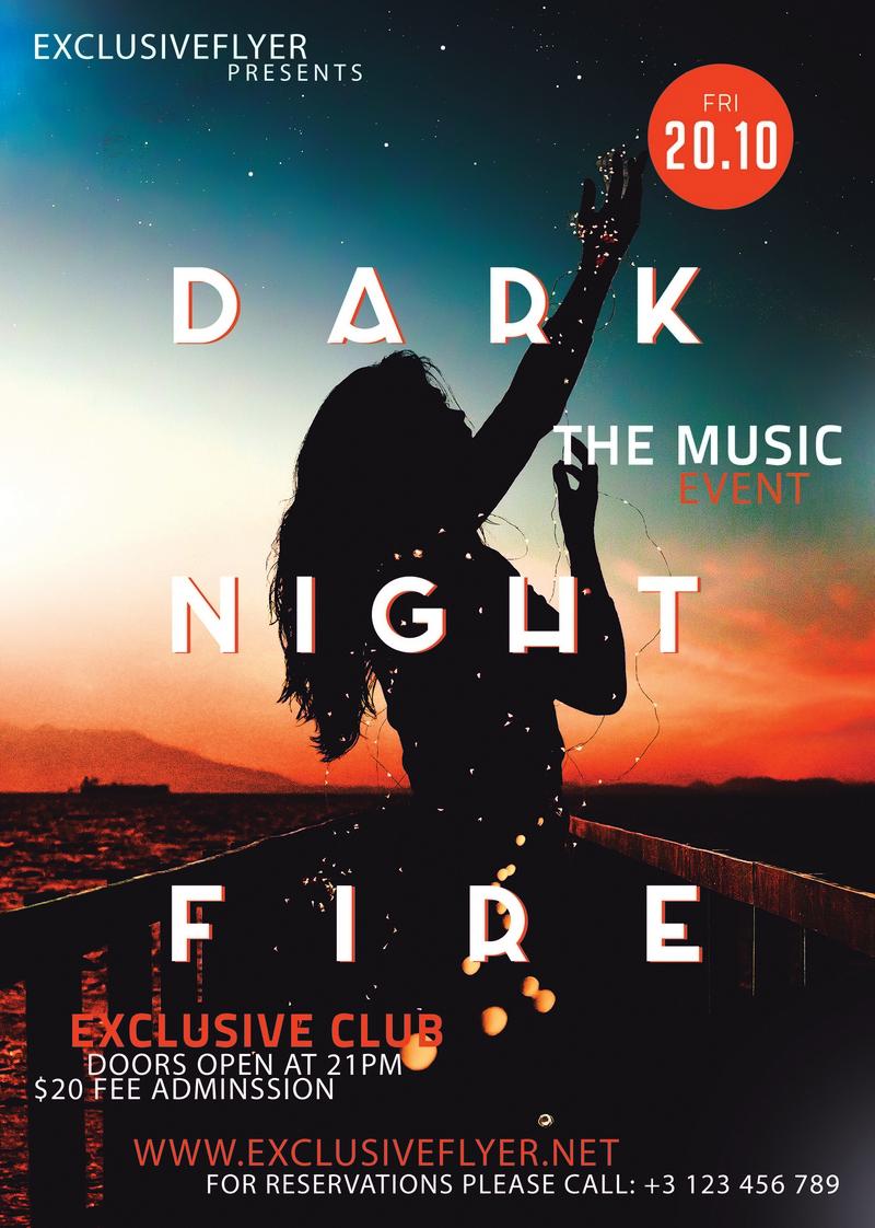 Club A5 Flyer template – Dark Night of Fire