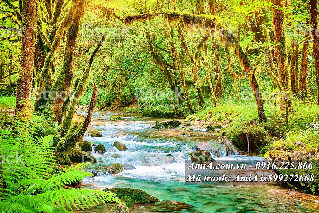 Tranh thác nước đẹp trong rừng cây treo tường cực chất