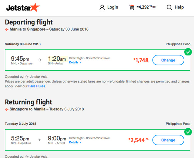Manila to Singapore Jetstar Roundtrip Promo June 30 to July 3, 2018