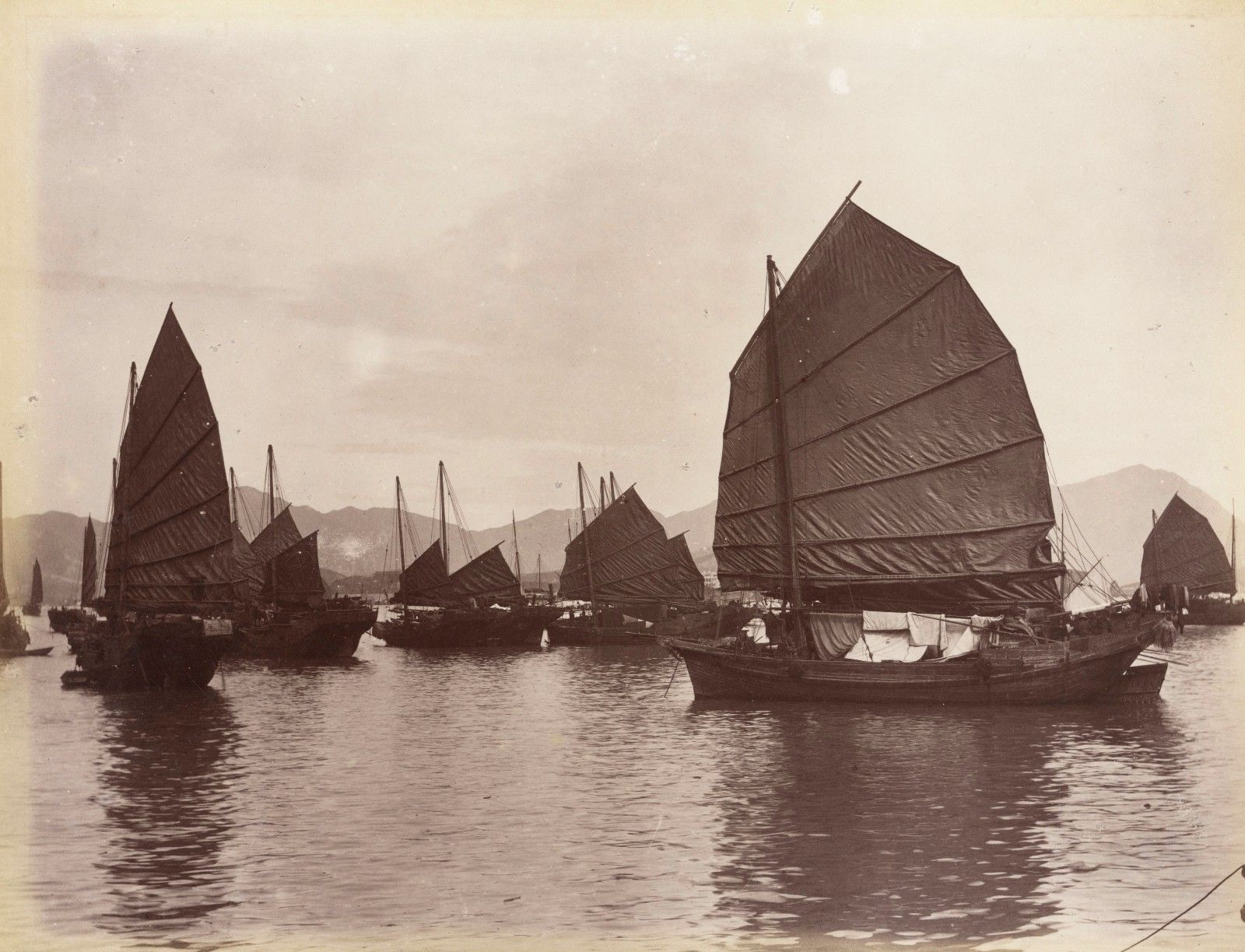 Boats in Guangzhou, China, circa 1880.