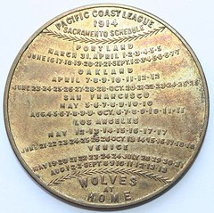 1914 Baseball Schedule Token rev