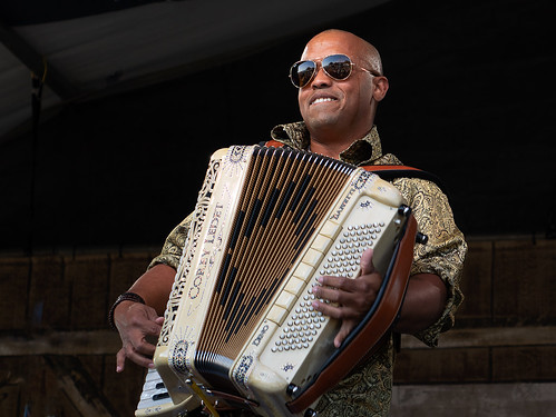 Corey Ledet & His Zydeco Band on Day 1 of Jazz Fest - 4.27.18. Photo by Charlie Steiner.