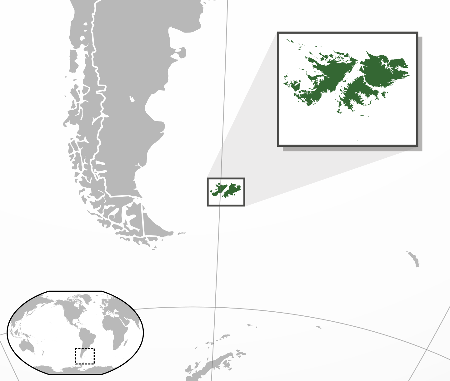 Location map of Falkland Islands in the South Atlantic Ocean