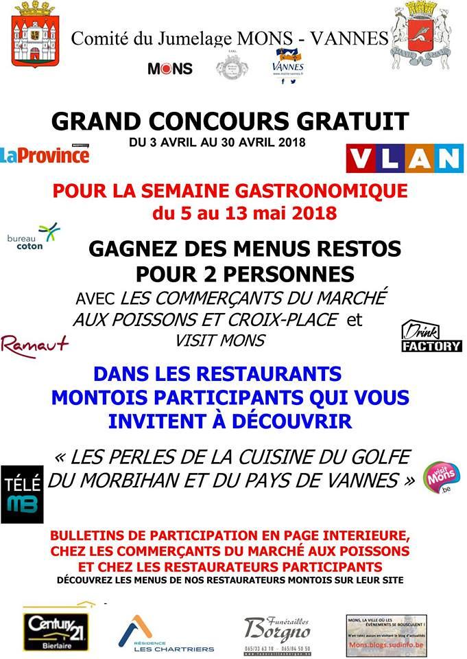Concours - Menus restos pour le 65 ans du jumelage Mons Vannes