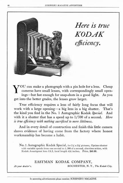 Ad from 1914 for the No. 1A Autographic Kodak Special
