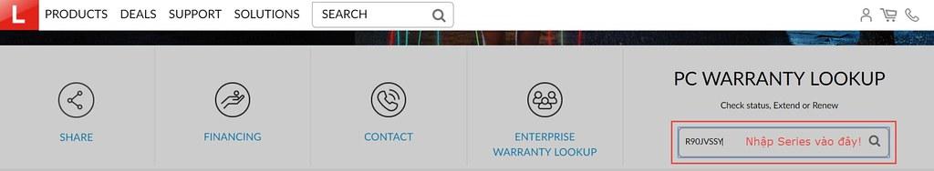 Truy cập vào trang Lenovo Warranty để nhập mã Series