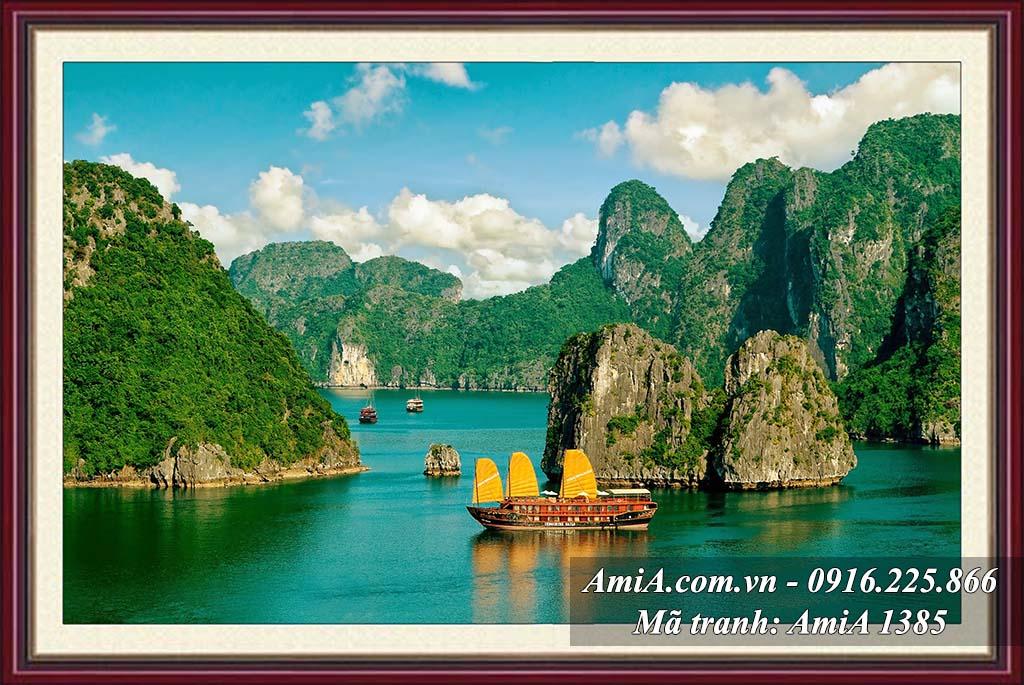 AmiA 1358 - Tranh phong cảnh vịnh hạ long bộ khung truyền thống