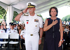 Adm. Scott Swift and his wife Trish render honors after laying a wreath during an ANZAC Day ceremony, April. 25. (U.S. Navy/MC1 Phillip Pavlovich)