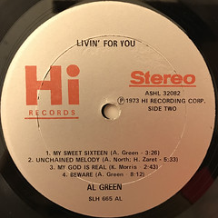 AL GREEN:LIVIN' FOR YOU(LABEL SIDE-B)