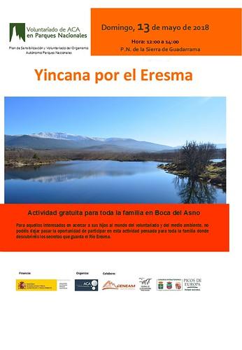 Cartel con información de la actividad de voluntariado para familias en el Parque Nacional de Sierra de Guadarrama, en Boca del Asno, el sábado 12 de mayo de 2018 de 12 a 14 horas. Es una yincana por el Eresma, donde los más pequeños conocerán los secretos del río Eresma.