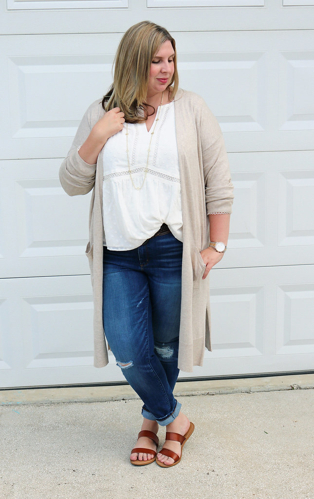white peasant top, long tan cardigan, distressed jeans, double strap sandals 3