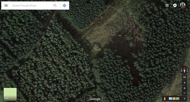 Google Satellite view of the outcrop Druid's Altar