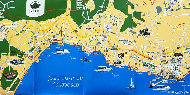 Карта Херцег Нови и Игало с достопримечательностями