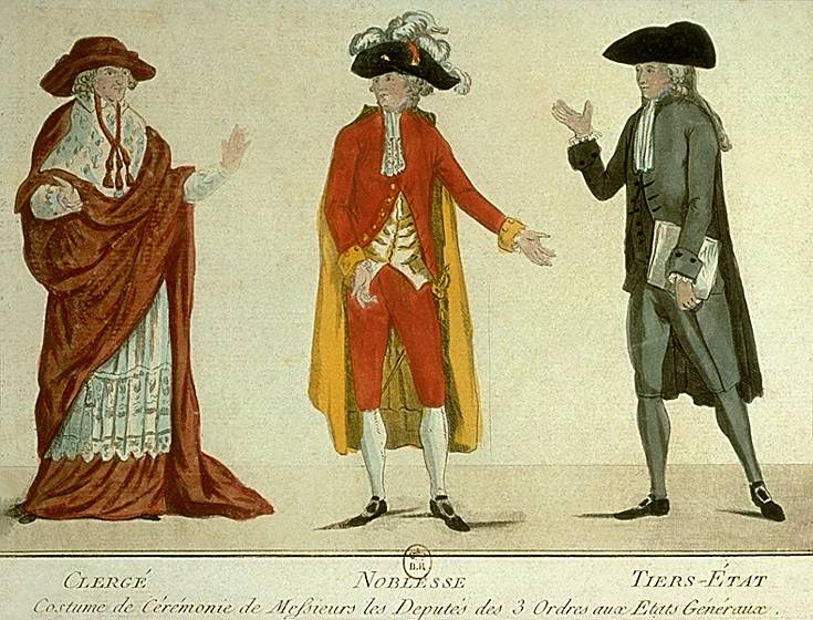 Clothing worn by the three orders of the Estates-General, the clergy, nobility and the common people