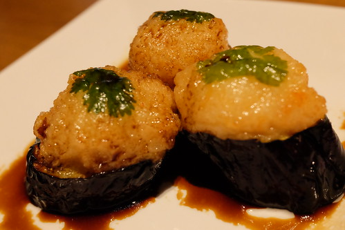 茄子の海老団子揚げ Deep Fried Eggplant with Shrimp