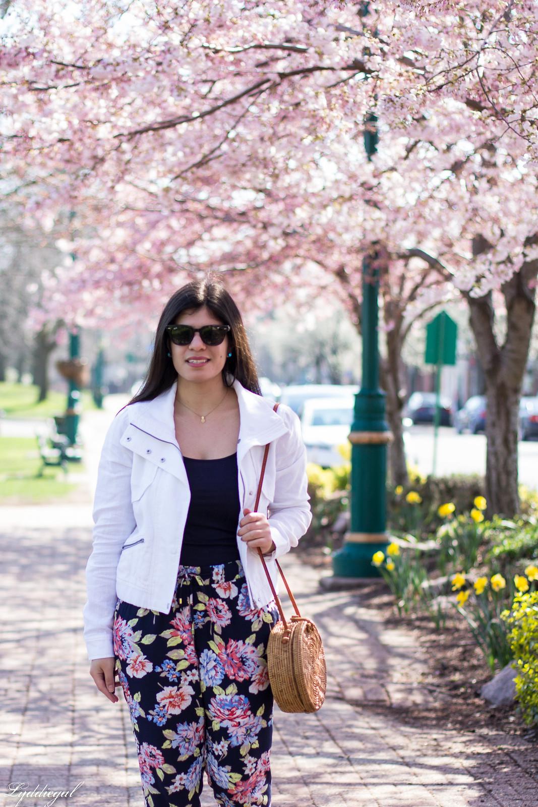 floral joggers, white linen jacket, round rattan bag-6.jpg