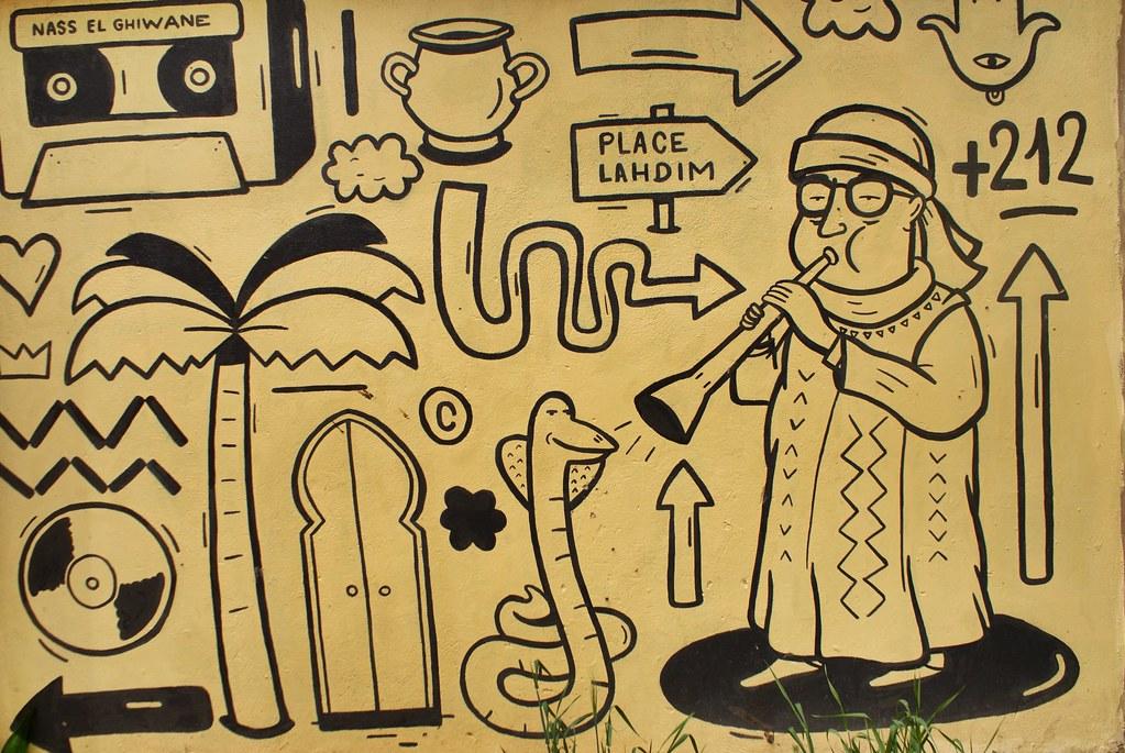 Street art dans les rues de la Vieille Ville de Meknes.