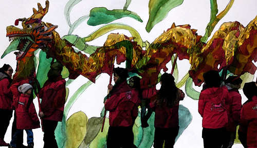 Chinese New Year Dragon Dancers layered with a watercolour sketch of a Philodendron