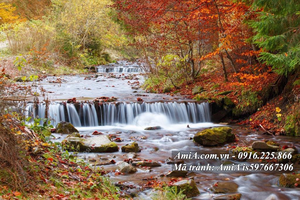 Tranh rừng cây thác nước đẹp từ thiên nhiên