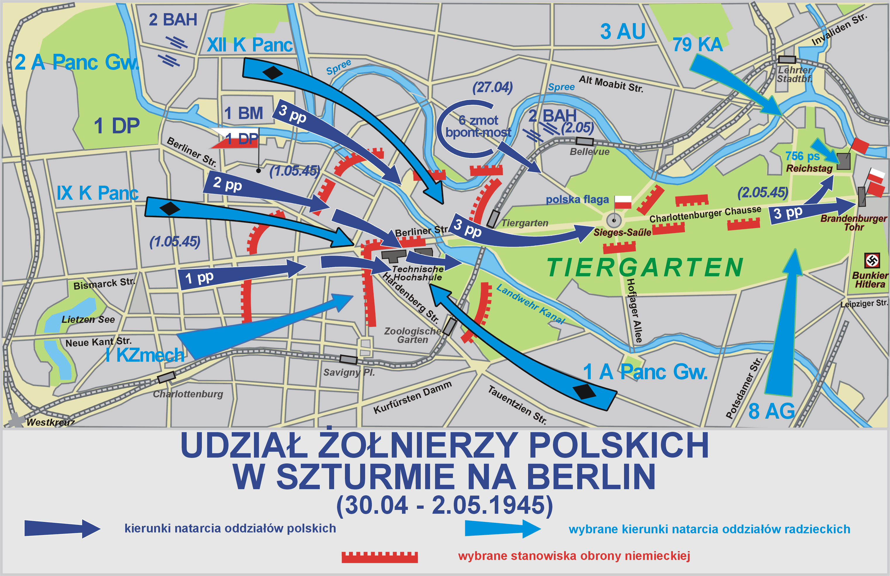 Map of Polish Army advances during the final days of the Battle of Berlin, April 30-May 2, 1945.