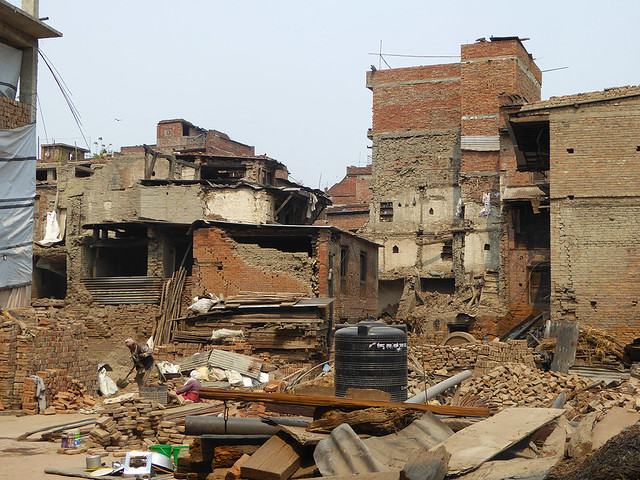 Scene of devastation cause by Nepalese earthquake in 2015 to a part of Nepal showing massive collapse of buildings
