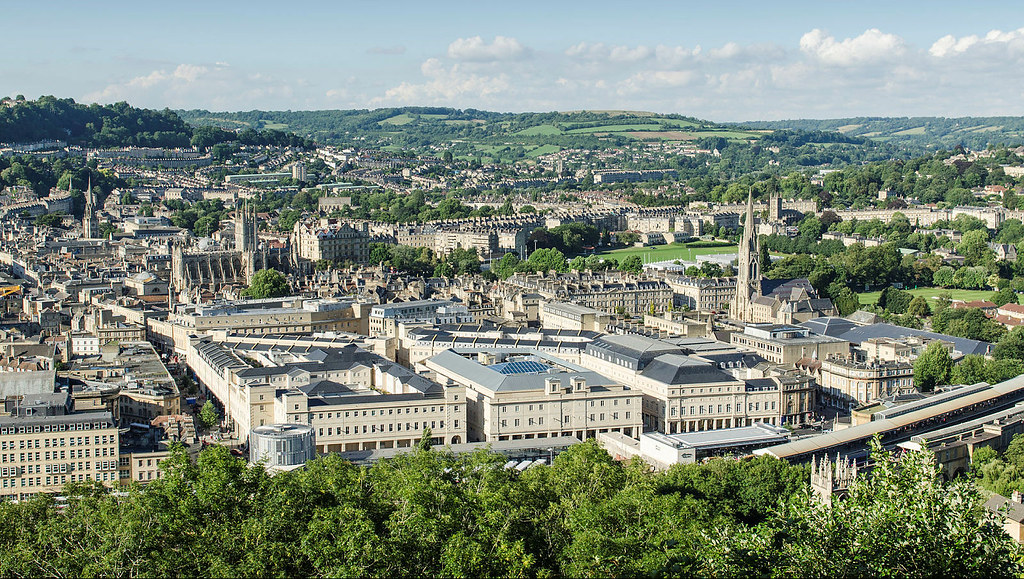 Aerial view of Bath city