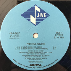 PRECIOUS WILSON:I'LL BE YOUR FRIEND(LABEL SIDE-A)