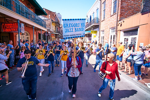 Gregori High School Jazz Band during the Opening kickoff parade Day 1 of French Quarter Fest - April 12, 2018. Photo by Eli Mergel.