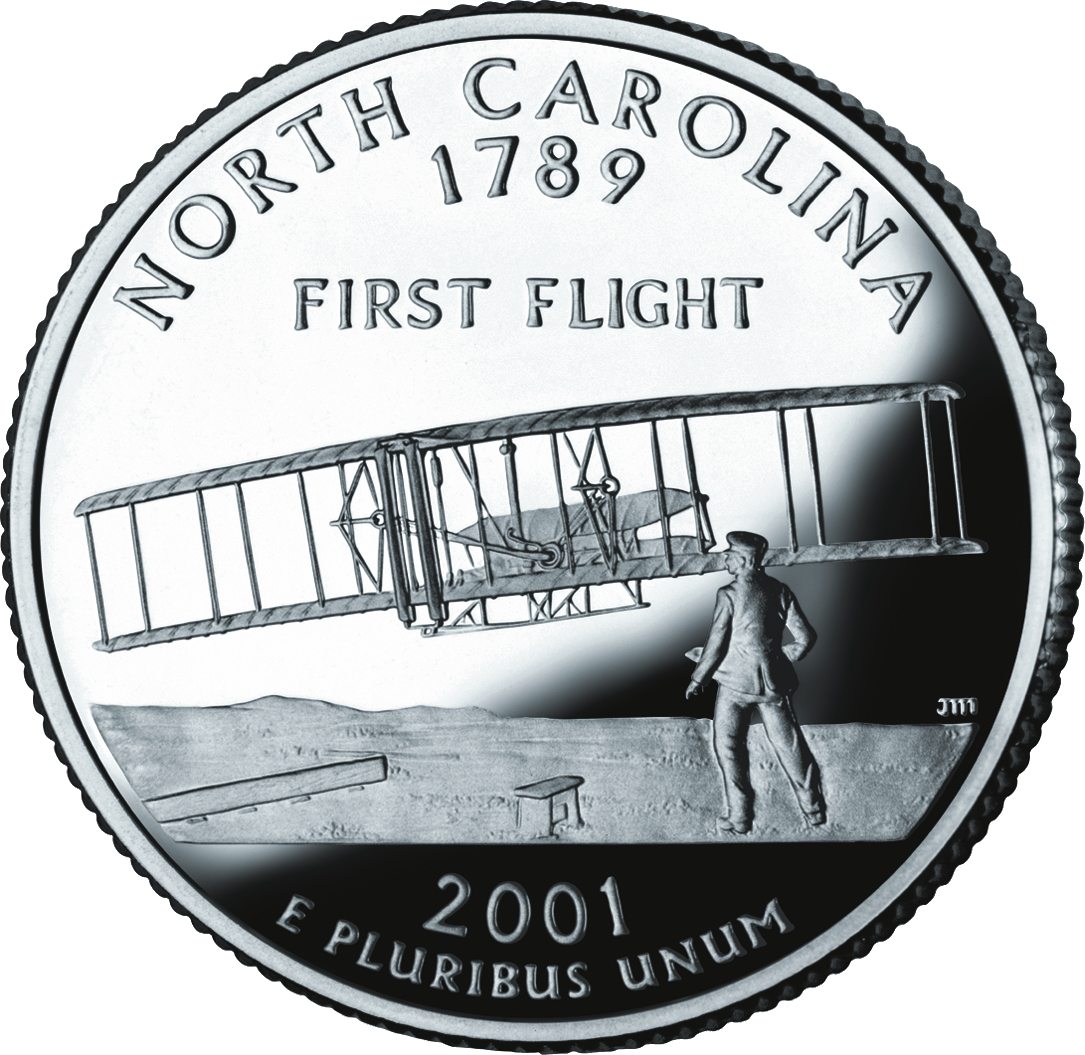 United States quarter (25 cents) issued for North Carolina, 2001.