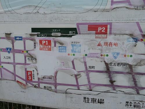 福島競馬場のスタンド方面の駐車場の地図