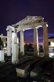 Roman Agora at night in Athens, Greece