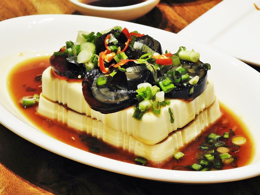 Cold Steamed Tofu With Pork Floss And Century Eggs